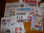 Morning newspapers celebrate today's vote