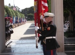 U.S. Marine Honor Guard and Tunisian troops at the Memorial Day ceremony.